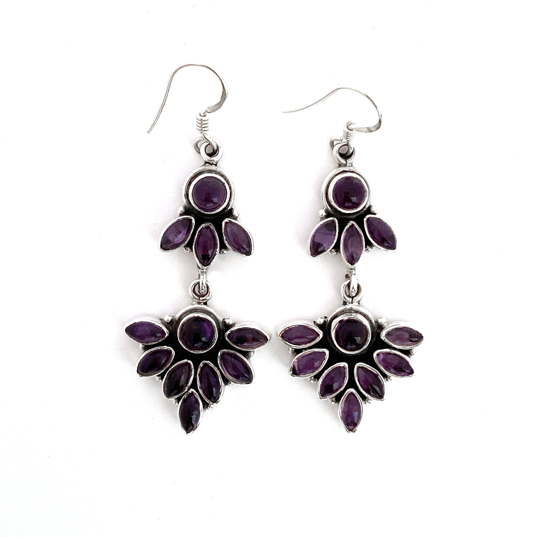 Double Linked Amethyst Silver Earrings
