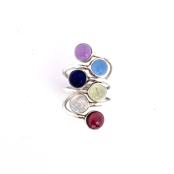 Rainbow Stack Silver Ring