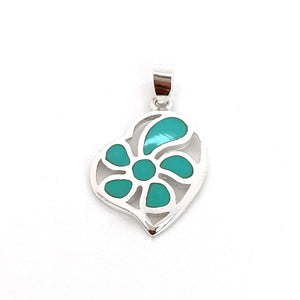 Silver Turquoise Heart Pendant