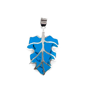 Silver Turquoise Leaf Pendant