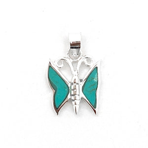 Silver Turquoise Butterfly Pendant