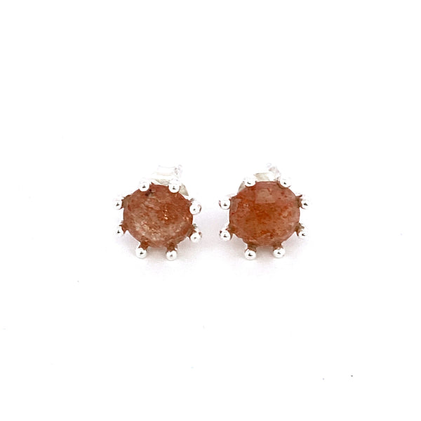 Silver Amber Stud Earrings