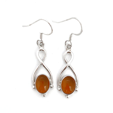 Silver Twist Amber Drop Earrings