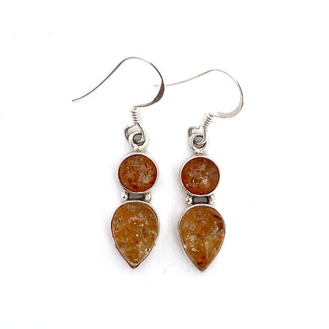 Double Drop Amber Silver Earrings