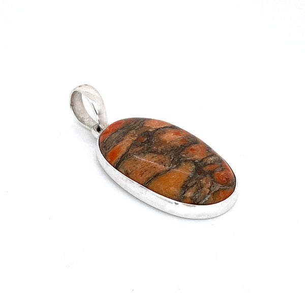 Orange Copper Turquoise Oval Pendant