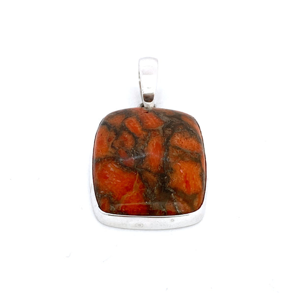 Orange Copper Turquoise Pendant