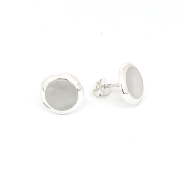 Round Mother of Pearl Stud Earrings