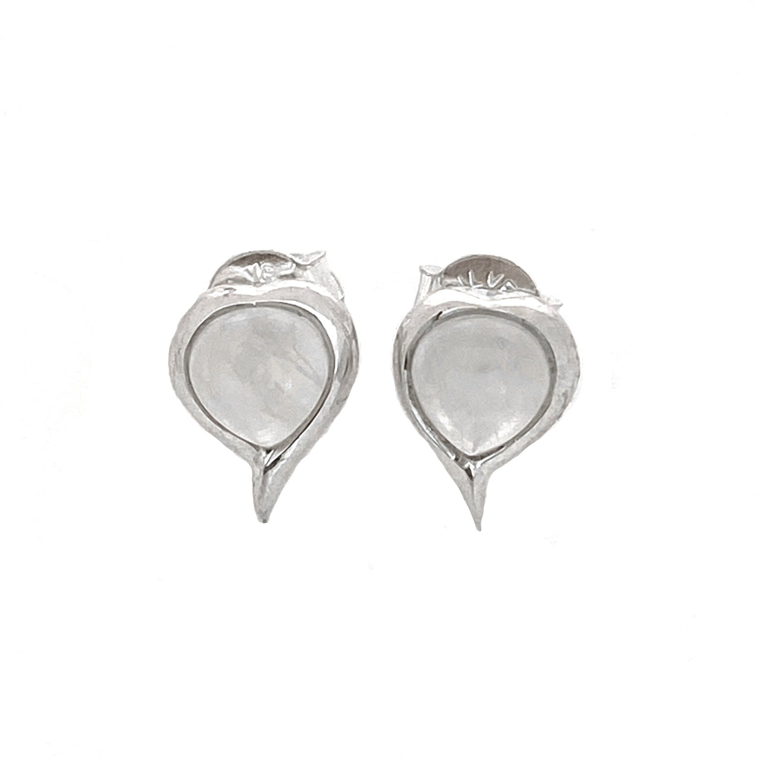 Silver Heart Moonstone Stud Earrings
