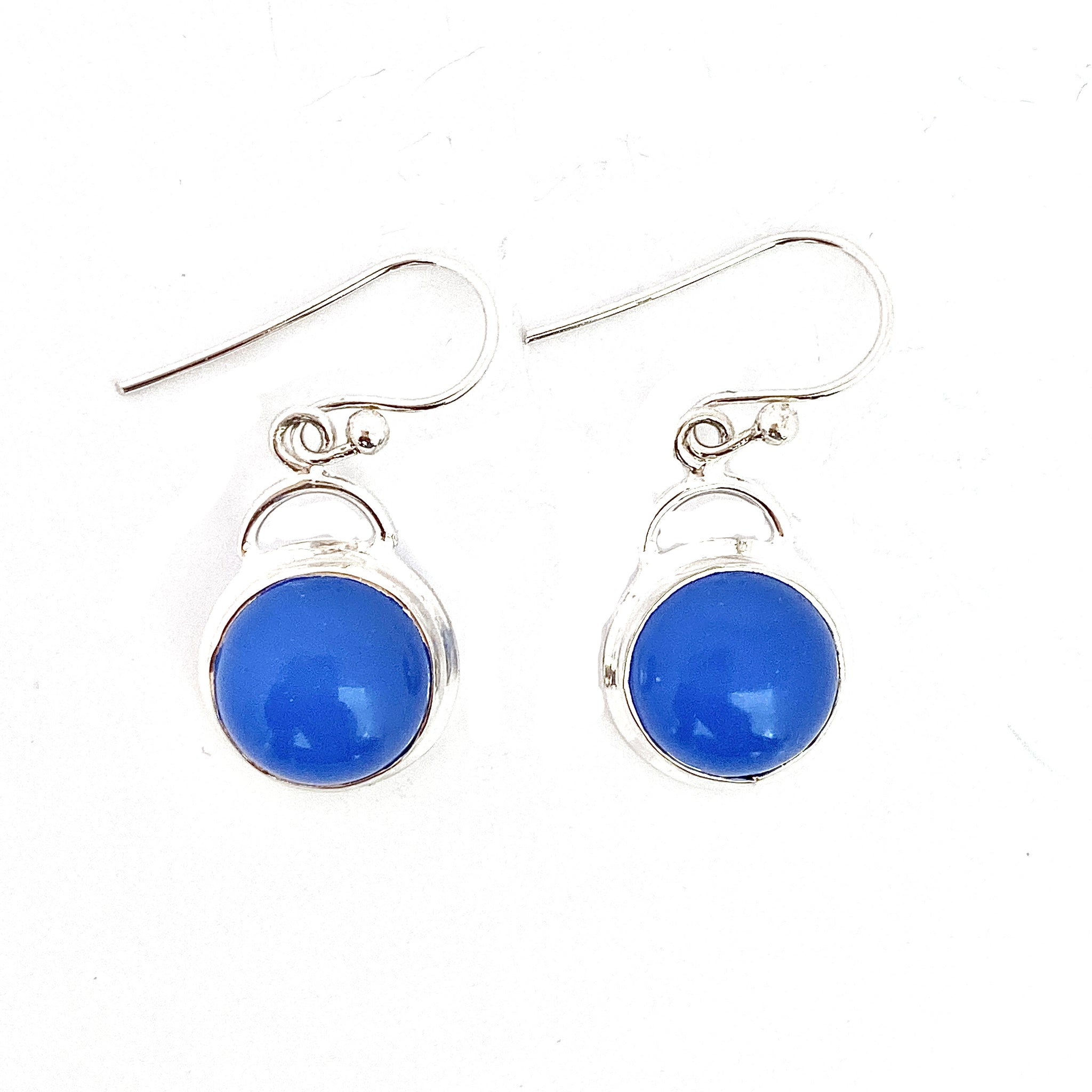 Round Blue Chalcedony Earrings