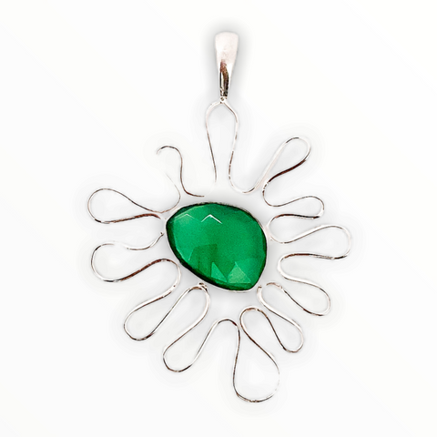 Contemporary Silver Green Quartz Pendant