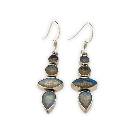 Silver Labradorite Hanging Earrings
