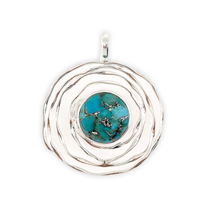 Circular Spiral  Copper Turquoise Silver Pendant
