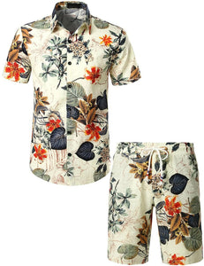 Mens Flowers Casual Aloha Hawaiian Shirt suits(White)