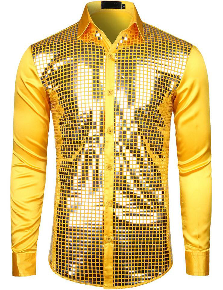 Mens Dress Shirt Silver Sequins Long Sleeve Button Down  Disco Shirt Party Costume