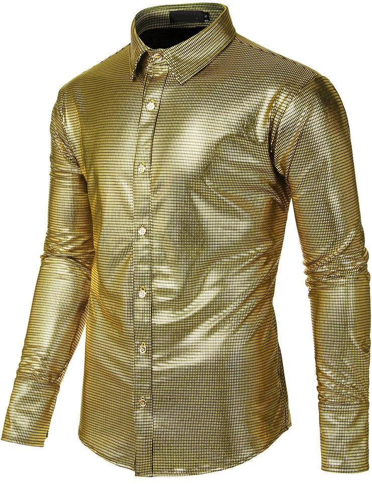 Men's Dress Shirt Sequins Long Sleeve Button Down Shirts Disco Party Costume