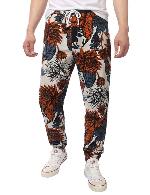 Men's Jogger Cotton Pants Flower Printed Drawstring Trousers(Red)
