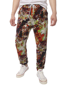 Men's Jogger Cotton Pants Flower Printed Drawstring Trousers(Brown)