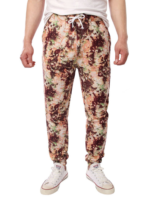 Men's Jogger Cotton Pants Flower Printed Drawstring Trousers(Pink)