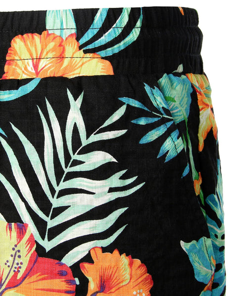 Men's Flower Flat Front Casual Aloha Hawaiian Shorts pants