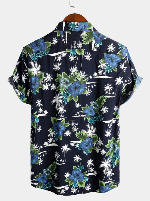 Men's Holiday Floral Short Sleeve Cotton Shirt