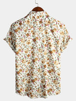 Men's Short Sleeve Rose Cotton Shirts