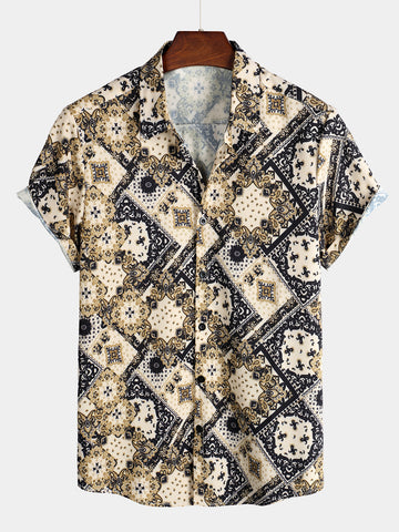 Men's Tribal Printed Short Sleeve Shirt