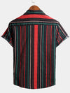 Men's Casual Short Sleeve Striped Cotton Shirts