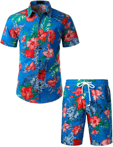 Mens Flowers Casual Aloha Hawaiian Shirt suits(Blue)