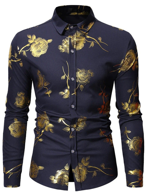 Men's Casual Rose Print Long Sleeve Shirt