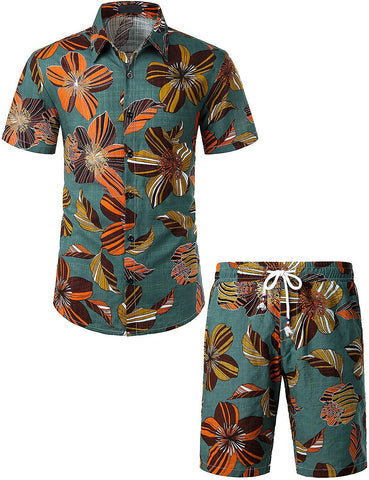 Men's Flower Casual Button Down Short Sleeve Hawaiian Shirt Suits(GreenVintage)