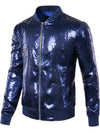 Mens Sequins Nightclub Styles Zip up Varsity Baseball Bomber Jacket