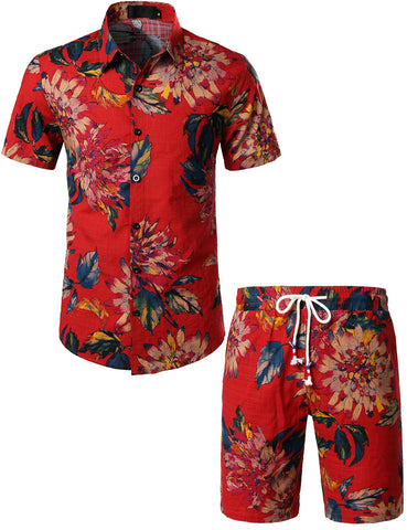 Mens Flowers Casual Aloha Hawaiian Shirt suits(Red)