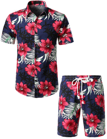 Mens Flowers Casual Aloha Hawaiian Shirt suits