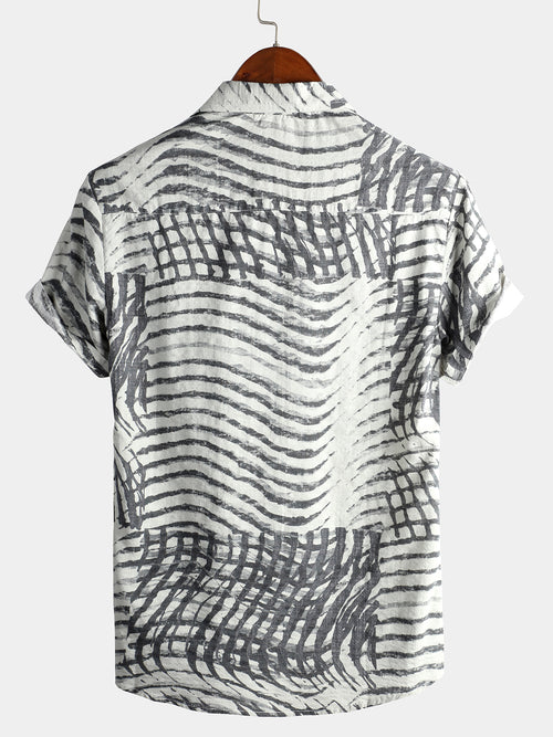 Men's Short Sleeve Striped Printed Shirt