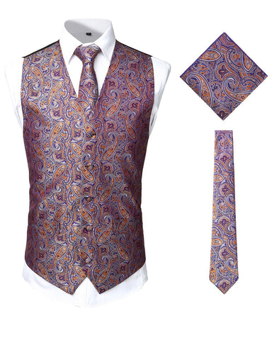 Men's Paisley Vest Necktie Pocket Square Handkerchief Set for Suit or Tuxedo