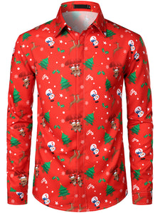 Men's Christmas Print Regular Fit Long Sleeve Shirt