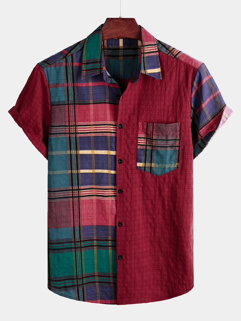 Men's Breathable Cotton Short Sleeve Plaid Shirts