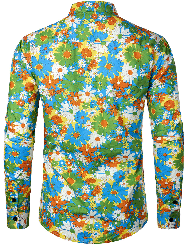 Men's Long Sleeve Cotton Floral Print Shirt