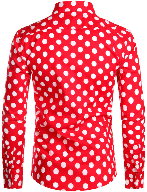 Men's Polka Dots Pocket Cotton Long Sleeve Shirt
