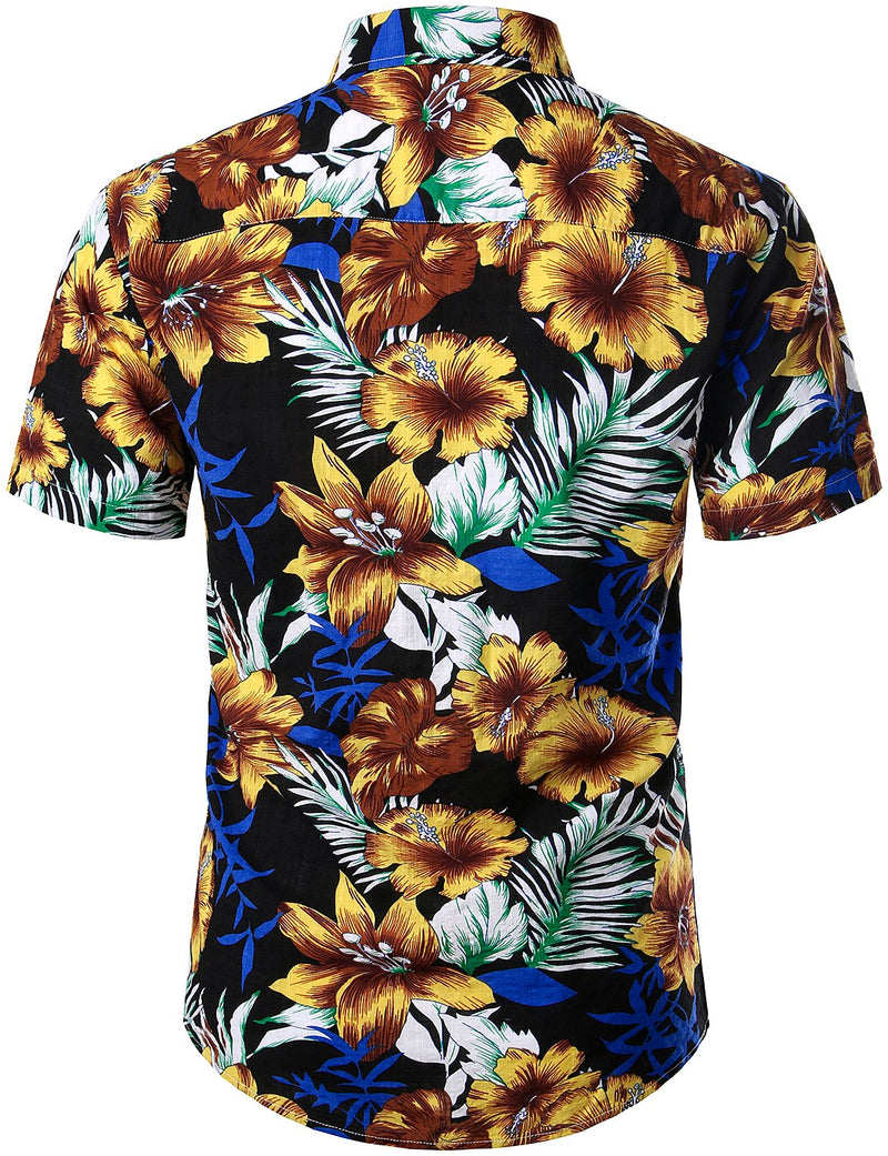 Men's Flower Casual Button Down Short Sleeve Hawaiian Shirts & Shorts