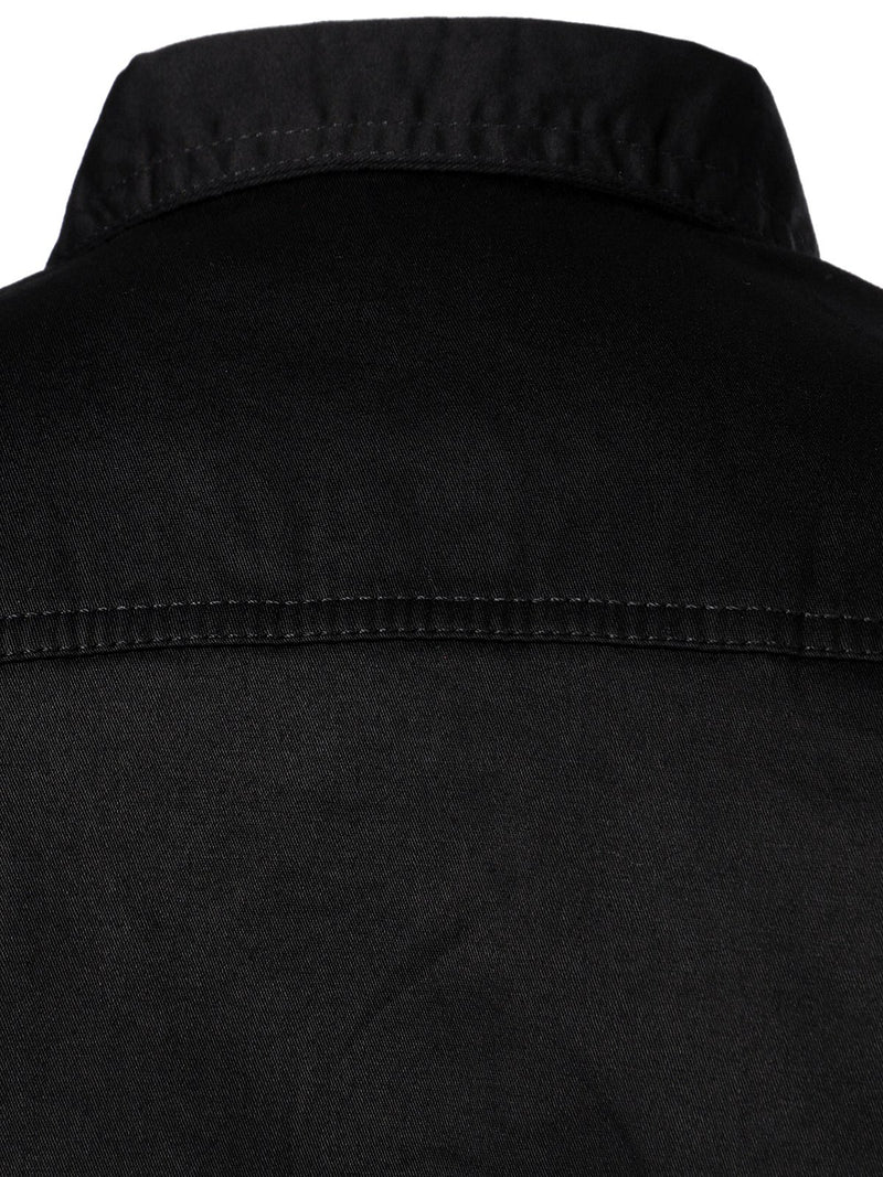 Men's Black Outdoor Casual Lapel Cotton Long Sleeve Shirt