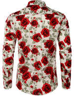 Men's Long Sleeve Cotton Rose Print Shirt