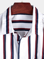 Men's Casual Short Sleeve Striped Shirt