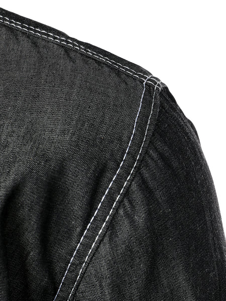 Men's Long Sleeve Black Denim Casual Shirt