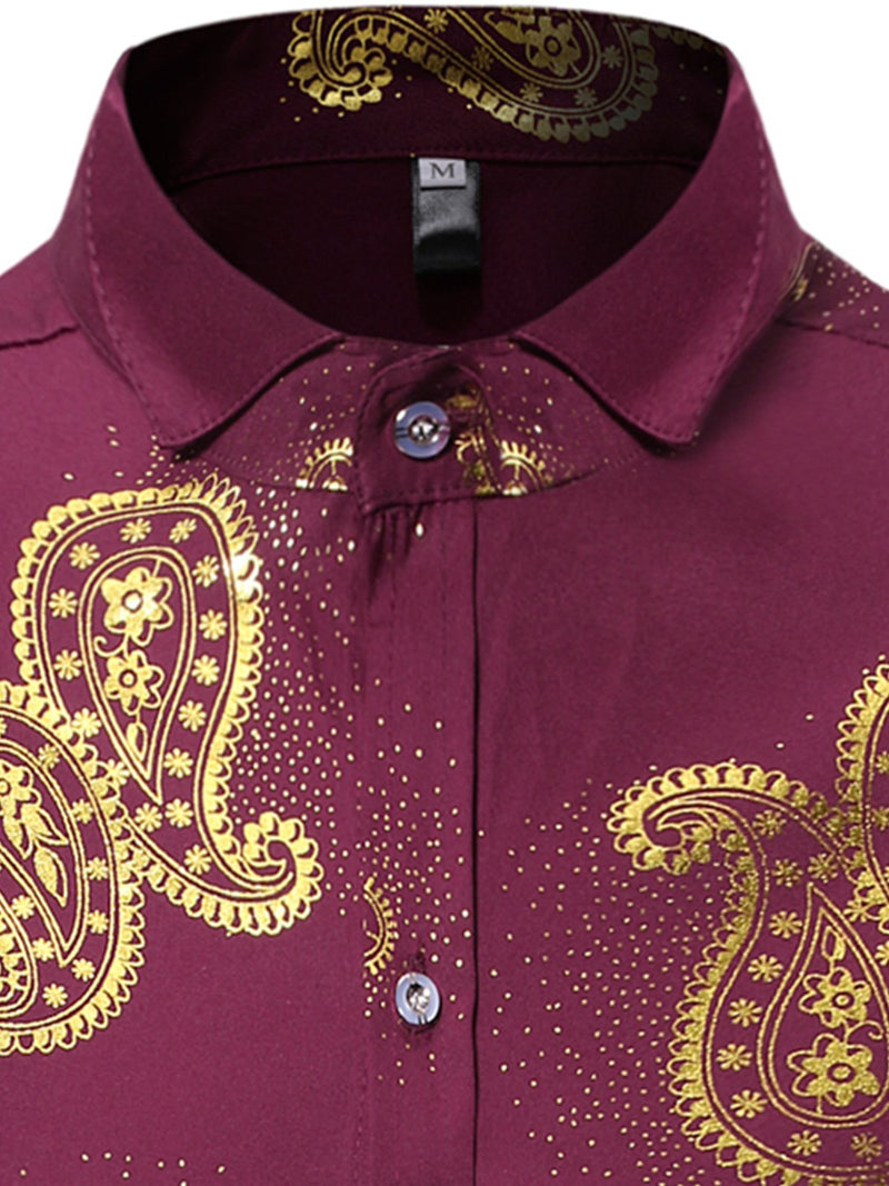 Men's Floral Print Long Sleeve Shirt