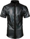 Men's Dress Shirt Sequins Button Down Shirts Disco Party Costume