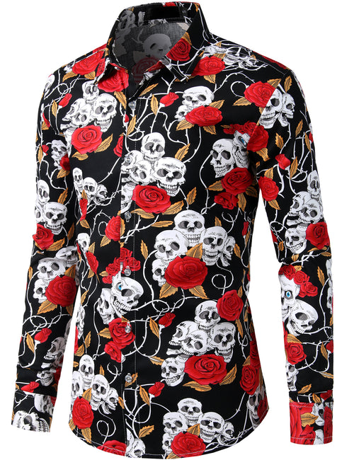 Men's Floral Casual Long Sleeve Shirt