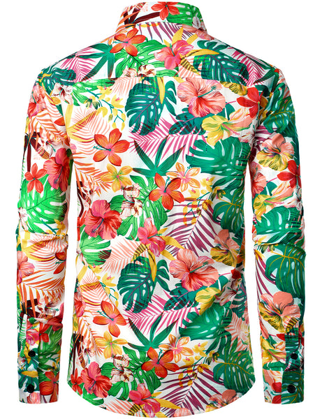 Men's Floral Cotton Long Sleeve Shirts