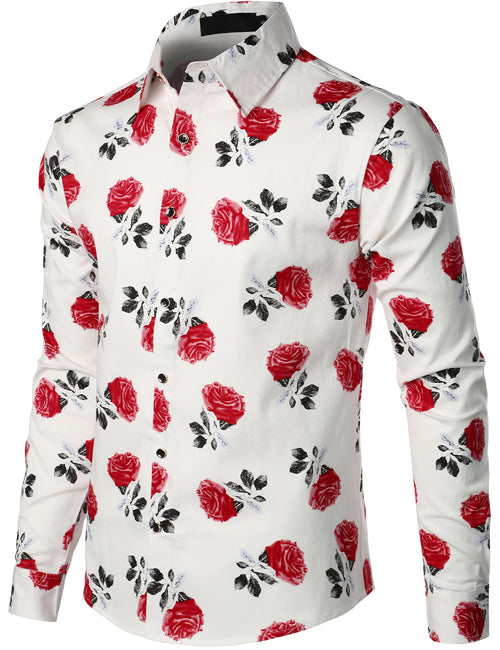 Men's Casual Cotton Rose Printed Long Sleeve Shirt