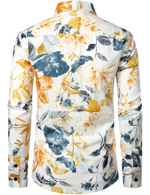 Men's Long Sleeve Floral Print Cotton Shirt